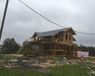 Строительство каркасного дома по индивидуальному проекту  в п.Ропша Ленинградской области.