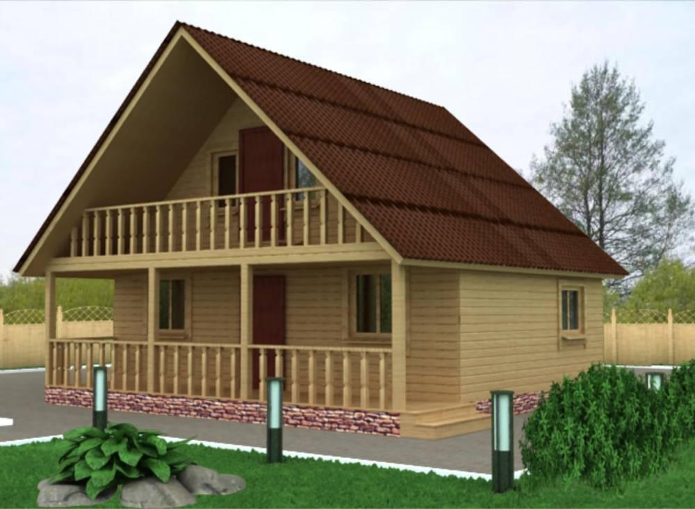 Дачный дом 8х7,5 с террасой